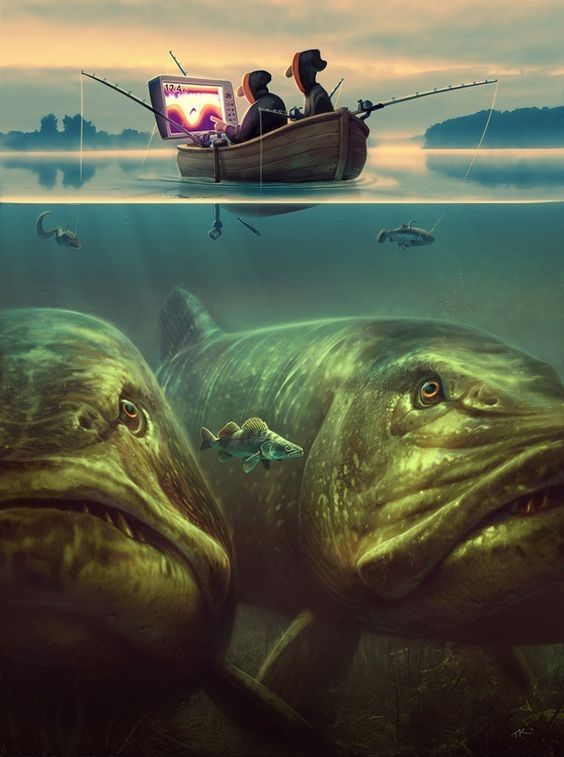 Tommy Kinnerup (Danish artist) – fishing. – Tommy specialises in visual development for films, games and illustrations and created these fish illustration for fishing tackle brand, Savage Gear.