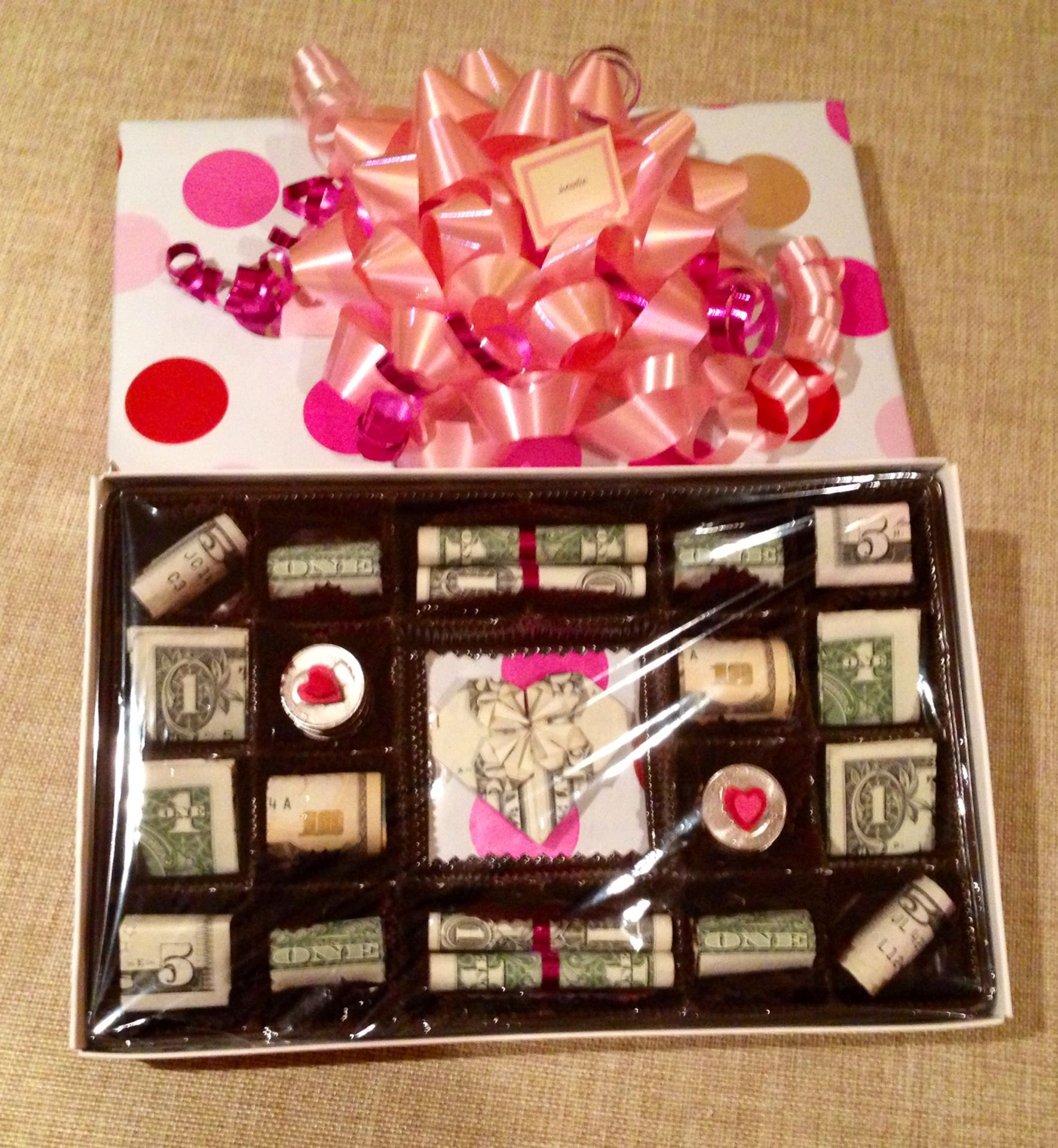Candy  Box ~ Origami Heart and Treats Made From Cash Money ~ Super Cute & Candy