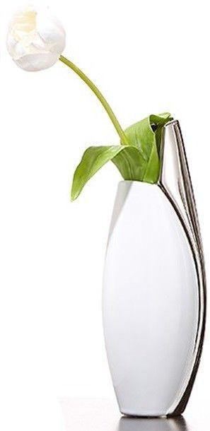 Ritzenhoff Breker Trendy Tall Slim Bud Vase White Silver Flower