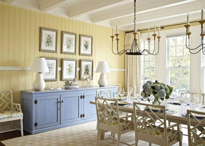 wnde esszimmer, esszimmer landhausstil gelbe wände hellblaue kommode | decor jantar, Design ideen