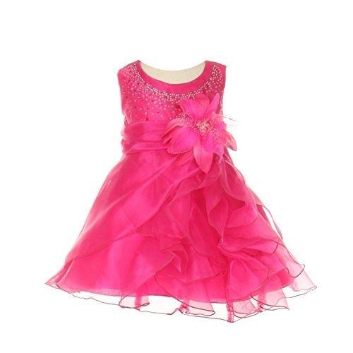989ab54c18c Cinderella Couture Baby Girls Fuchsia Crystal Organza Cascade Ruffle Dress  6M