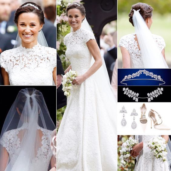 """Photo of WillsKateGeorgeCharlotteLouis👑 on Instagram: """"20. May 2017 Pippa Middleton looked beautiful in a bespoke white floral lace wedding dress with a pretty high neck, small cap sleeves and … """""""