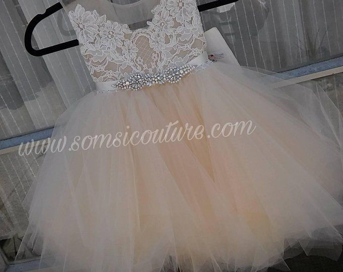 9936317bbb0 flower girl dress  Bianca  with rhinestone sash tan