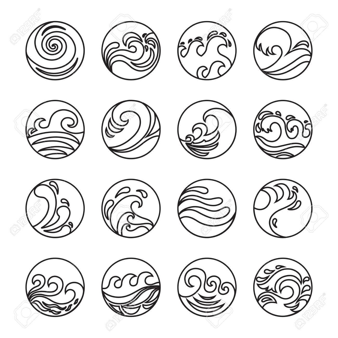 Wave Icons Set. Water Symbol or Logo design. Ocean, Sea