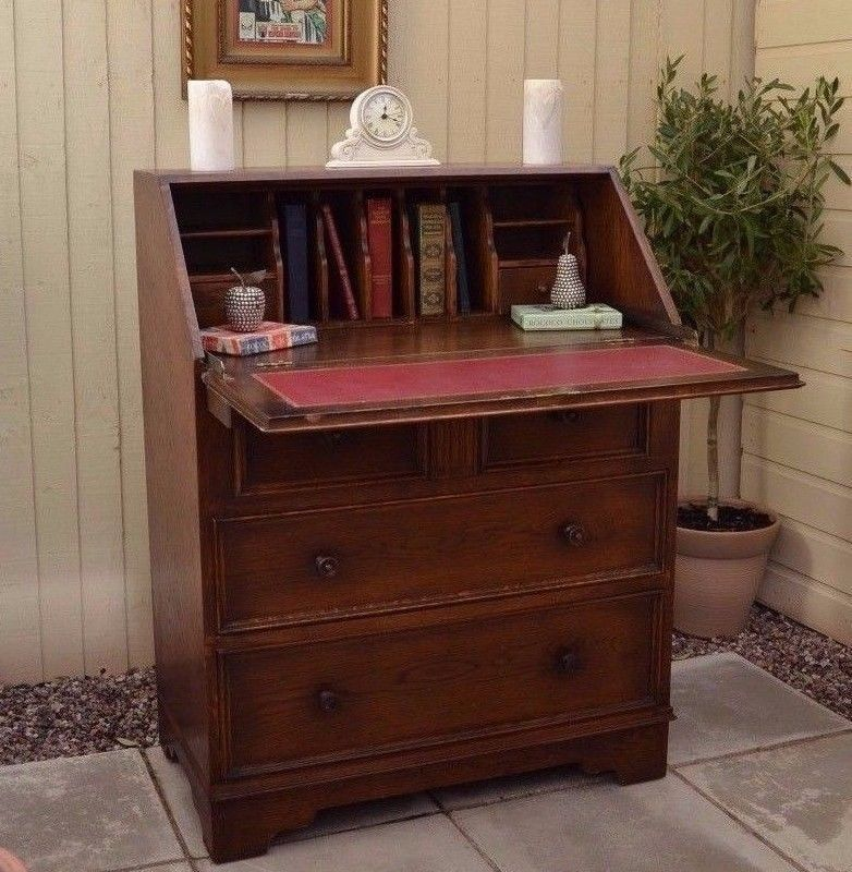 Lovely Vintage Oak Writing Bureau Desk Laptop Linenfold Home Office Old Charm
