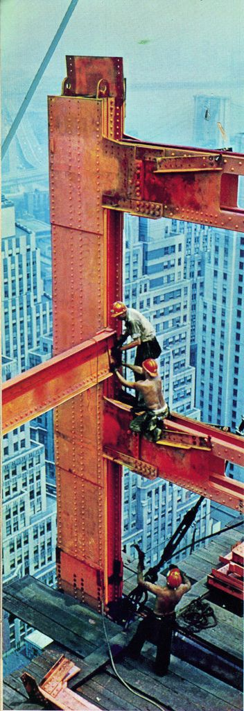 Chase Manhattan Bank ..Construction workers putting a steel gilder ...