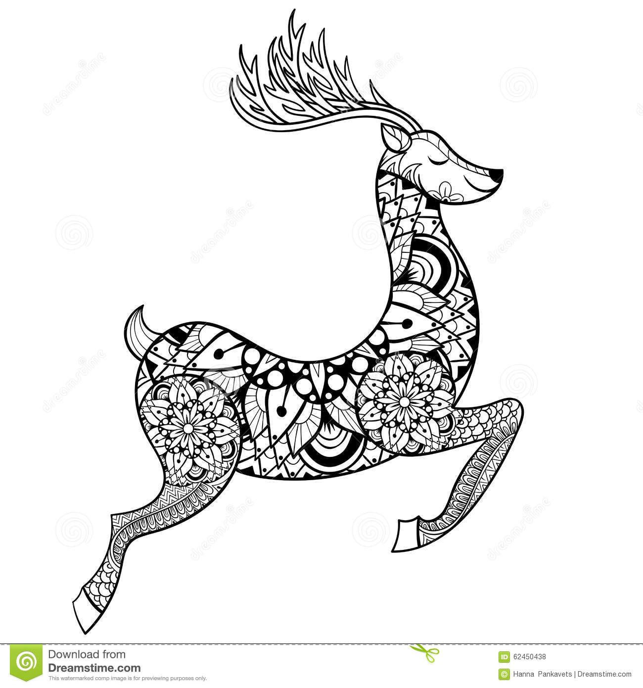 Zentangle Vector Reindeer For Adult Anti Stress Coloring