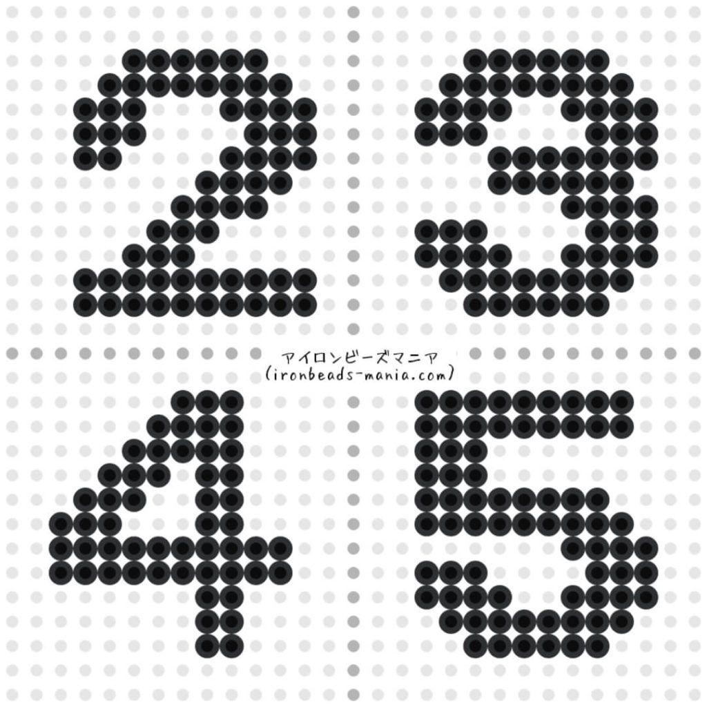 アイロンビーズ 数字の図案と作り方 四角プレートで簡単に アイロンビーズ ビーズ 図案