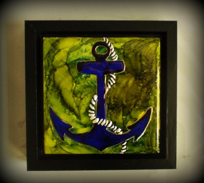 Anchor themed art nautical art square framed art ceramic tile art anchor themed art nautical art square framed art ceramic tile art hand dailygadgetfo Choice Image