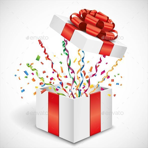 Open Gift Box With Streamer And Confetti Happy Birthday Gifts Valentines Wallpaper Gift Box