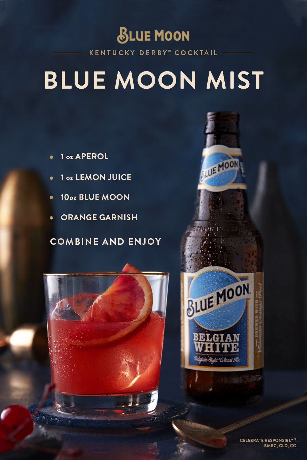 Blue Moon Is The Official Craft Beer Sponsor Of The Kentucky Derby For Your Derby Party Mix Things U Beer Cocktail Recipes Alcohol Drink Recipes Beer Recipes