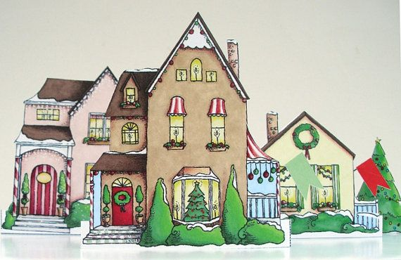 Christmas village paper holiday decoration by lisajanesmith a do it yourself christmas village with three houses and one tree the tallest house in this set is just under 4 tall solutioingenieria Images