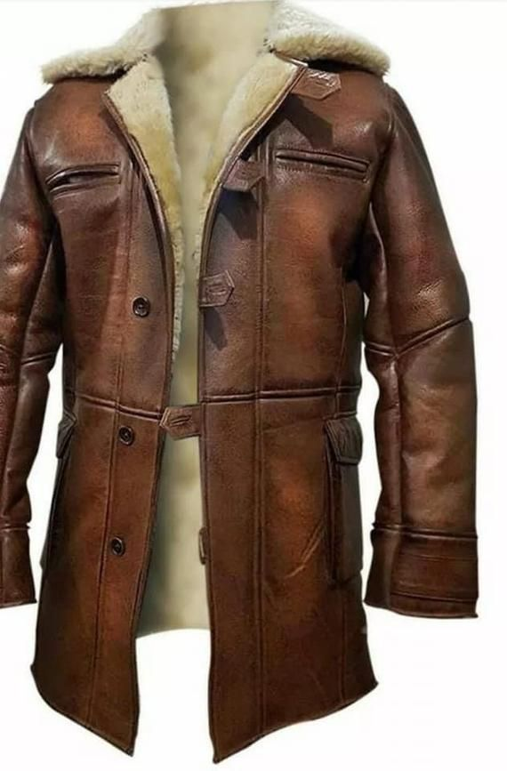 Shearling Brown Leather Coat For Men Real Cow Leather Fur Coat Hand Crafted Winter Trench Coat