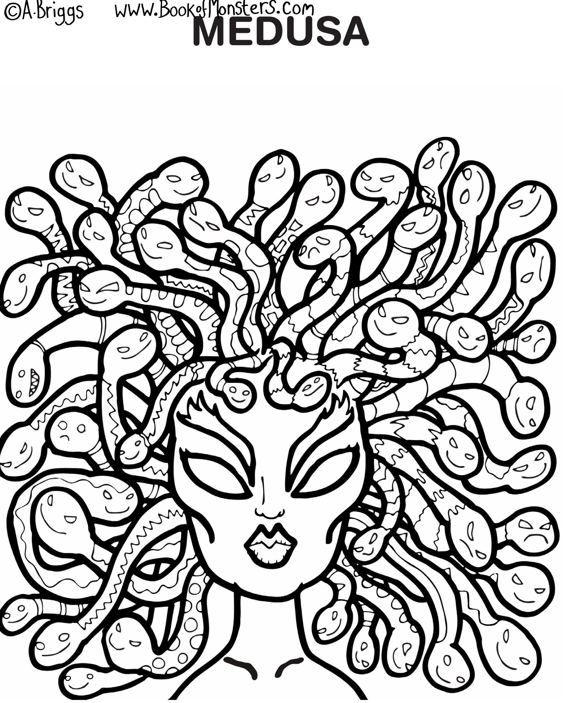 book of monsters coloring page for kids medusa greek mythology