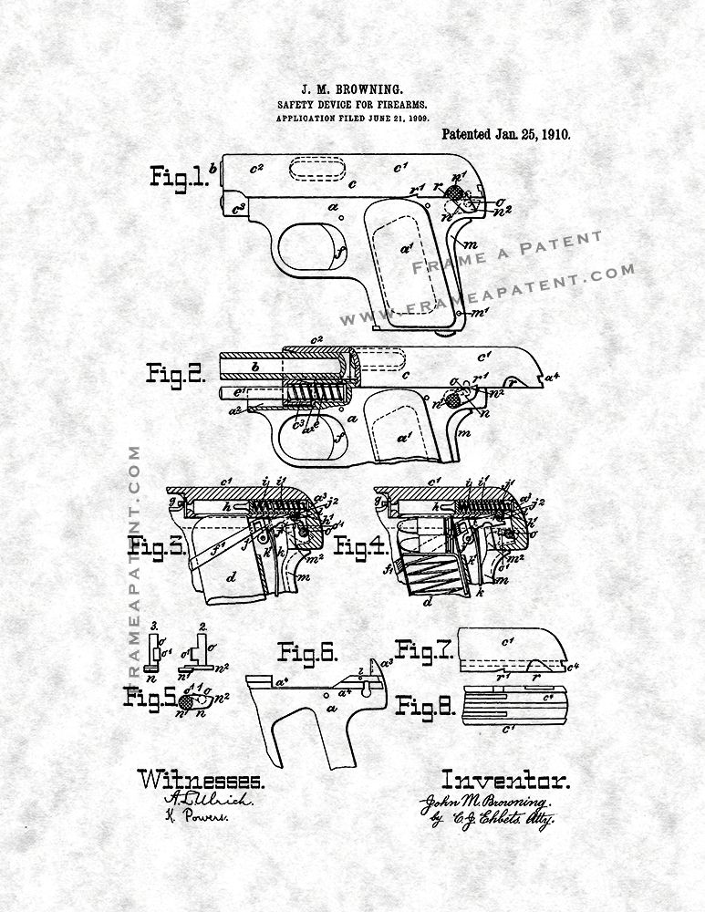 Fn Model 1906 And Colt Model 1908 Vest Pocket In 25 Acp Patent