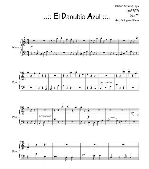 Johann Strauss El Danubio Azul Piano El Danubio Azul Partituras Música De Piano