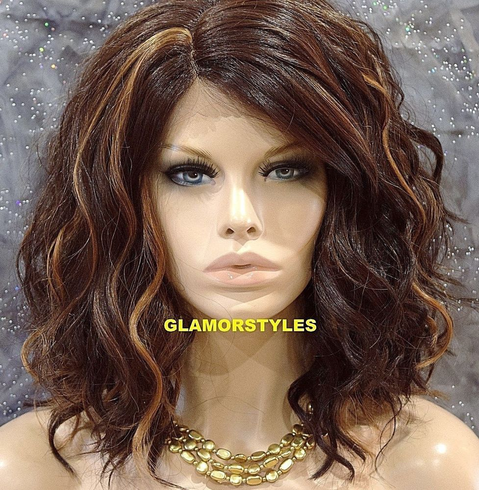 Details about bob short wavy layered brown mix lace front