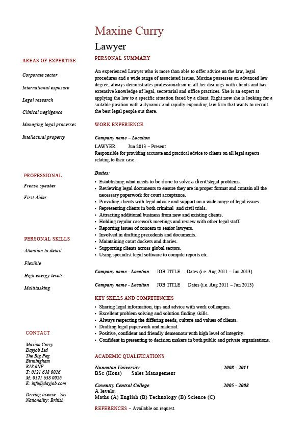 Lawyer Cv Template Resume Example Sample Solicitor Corporate Professional Personal In Job Resume Examples Teacher Resume Examples Project Manager Resume