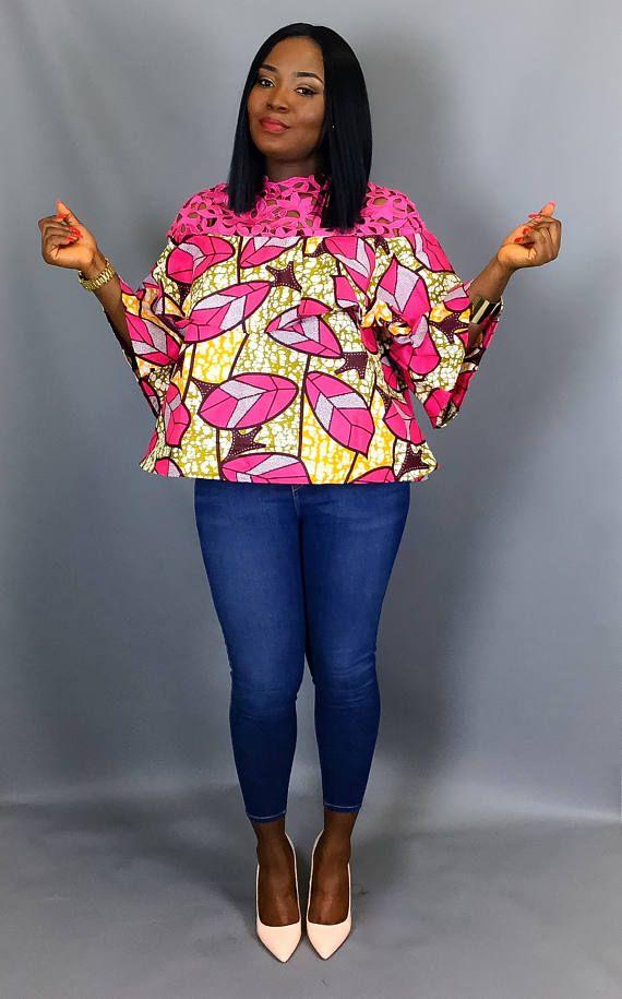 Imprimer africain niveaux haut, vêtements africains, tops imprimés africains, chemisiers, tops ...