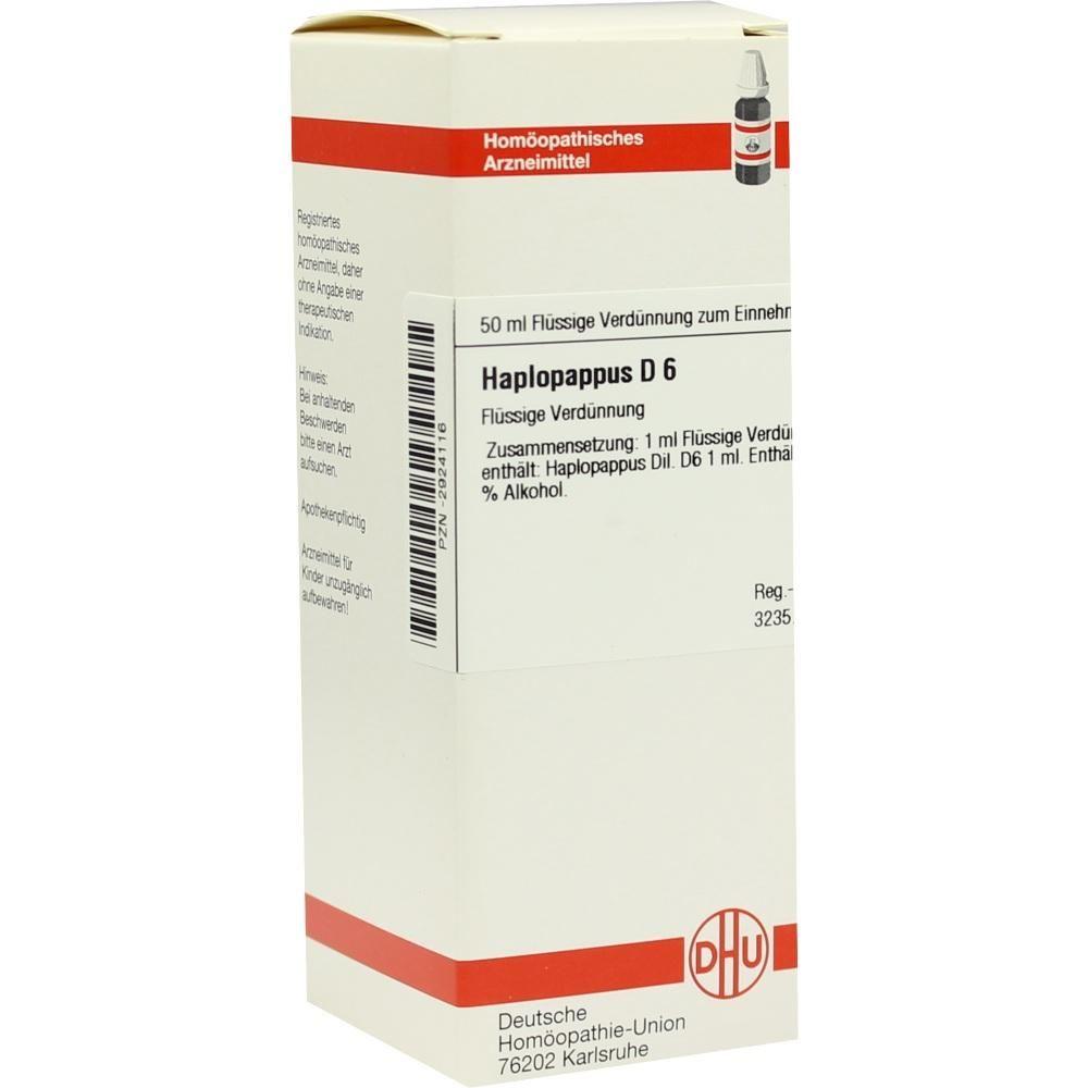HAPLOPAPPUS D 6 Dilution:   Packungsinhalt: 50 ml Dilution PZN: 02924116 Hersteller: DHU-Arzneimittel GmbH & Co. KG Preis: 10,19 EUR…
