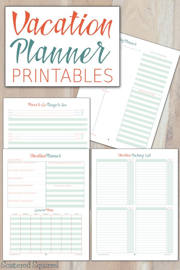 These vacation planner printables will help make planning ...