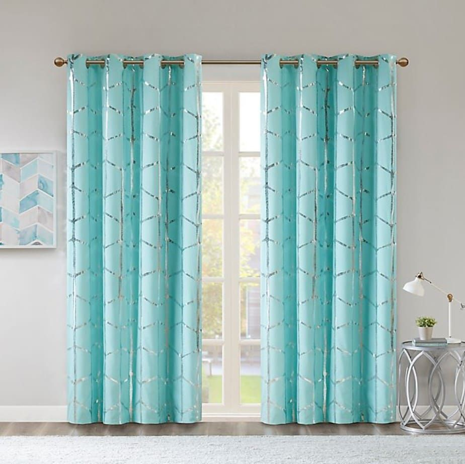 What Curtains Go With Grey Walls 20 Ideas Turquoise Curtains Panel Curtains Grommet Top Curtains