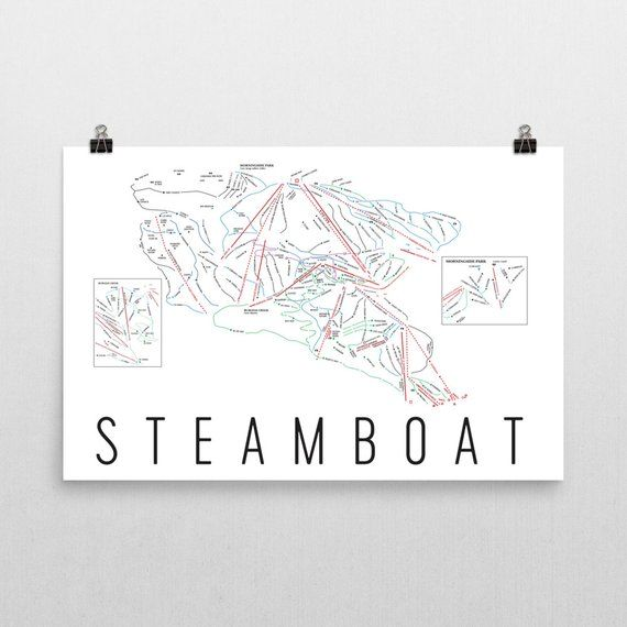 Steamboat Springs Print, Steamboat Ski Map, Steamboat Springs ...