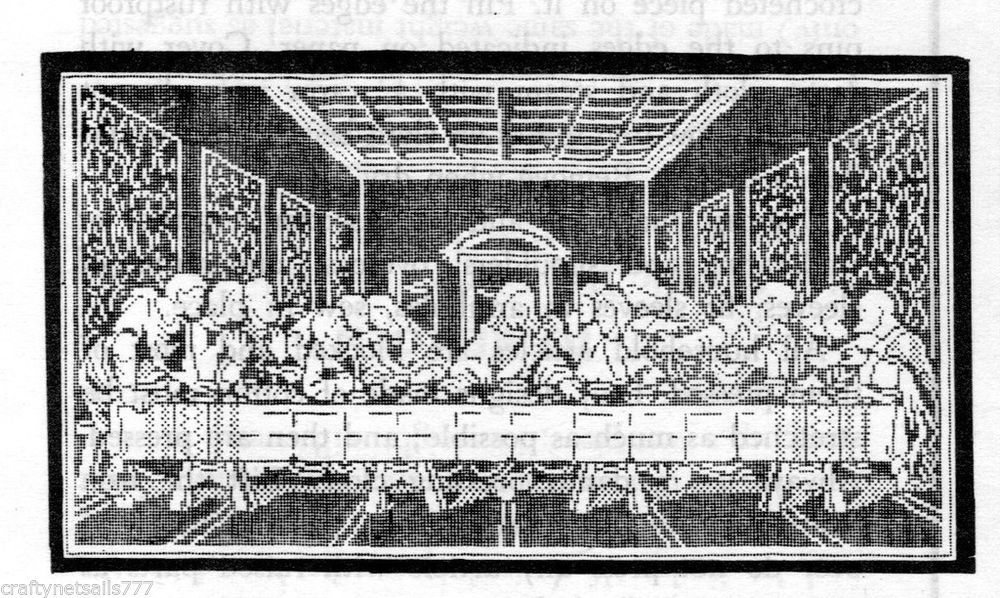 D7082 The Last Supper Wall Panel Vintage Thread Crochet Pattern
