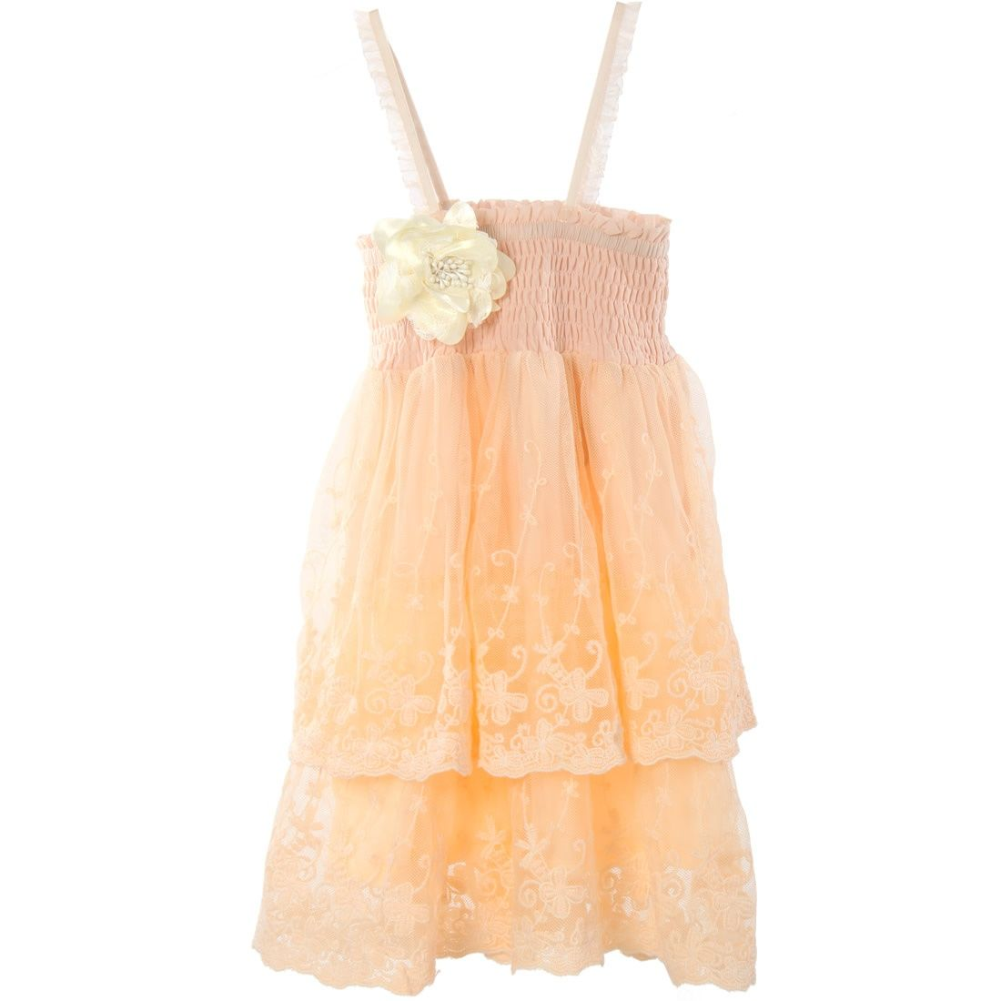 Petite by Celine  Lace shirred dress