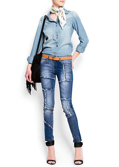MANGO Jeans patchwork parches denim slim skinny boho bohemio hippie 32/34 XS 6