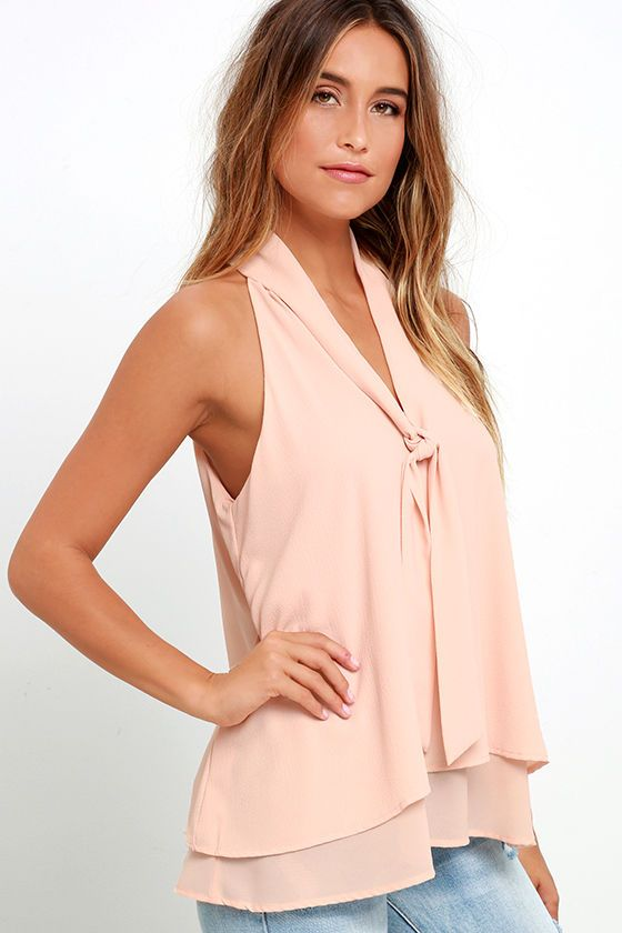 Handle My Business Nude Sleeveless Top at Lulus.com!