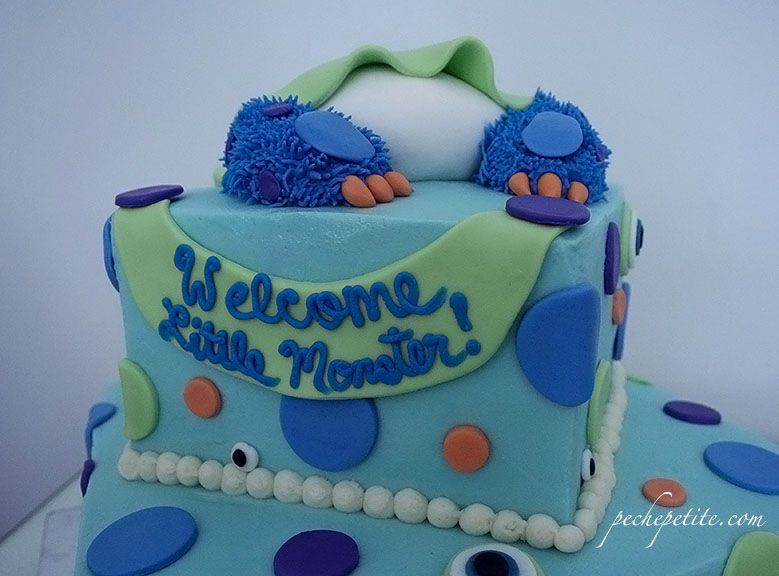 Custom Baby Shower Cakes Peche Petite Monster Baby Shower