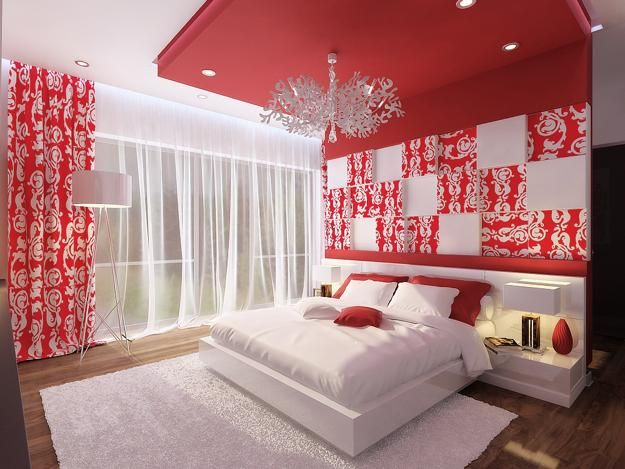 Bright Red Color Activating Romance and Accentuating Bold Bedroom ...
