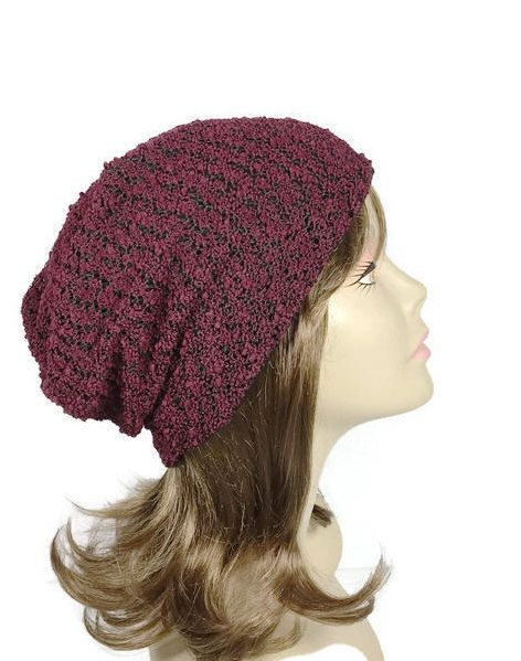 97334badeed Burgundy Knit Slouchy Beanie Burgundy and Black Boucle Knit Hat Boho Slouchy  Hat Wine Slouchy Hat Women s Slouchy Beanie CUSTOM SIZE LININGS by  LooptheLoop ...