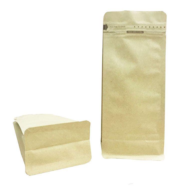 Disposable Flat Bottom Kraft Paper Sack For Food