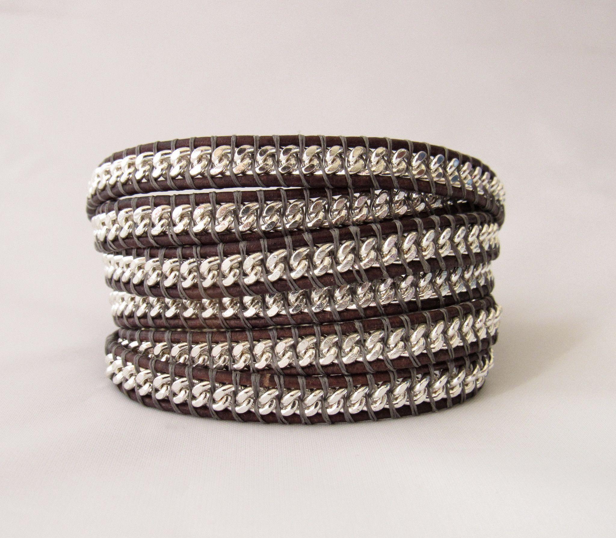 Durango Silver Chain Leather Wrap