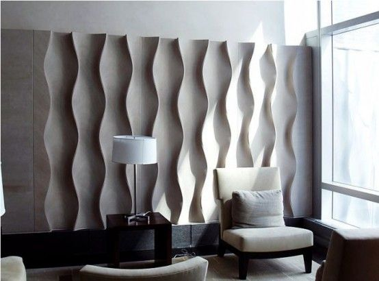 Contemporary Interior Wall Panel With Modern Furnitures Bas-Relief