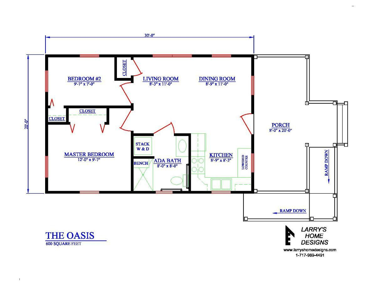 The Oasis 600 Sq Ft Wheelchair Friendly Home Plans Accessible House Plans Accessible House Tiny House Plans