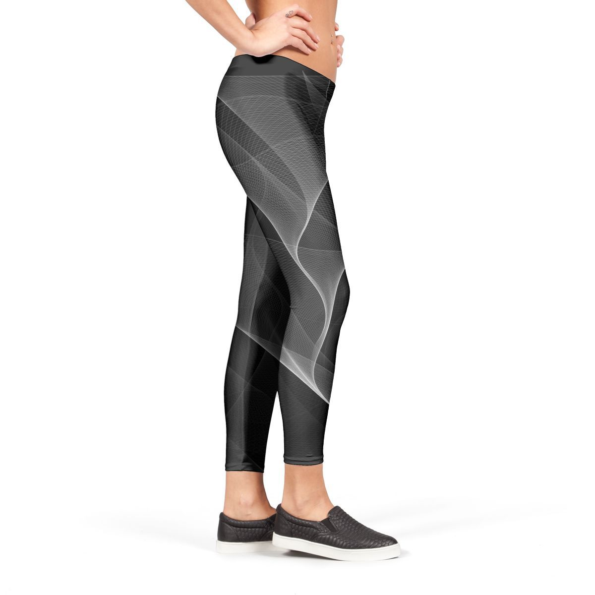 4bac0f9fe28a9 Buy 'Black and White Flux' Leggings by Dominique Vari from €37.00 | miPic .  || Elegant black and white abstract and fluid shapes looking in motion for  a ...