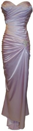 Strapless Long Satin Bandage Gown Bridesmaid Dress Prom Formal Crystal Pin,