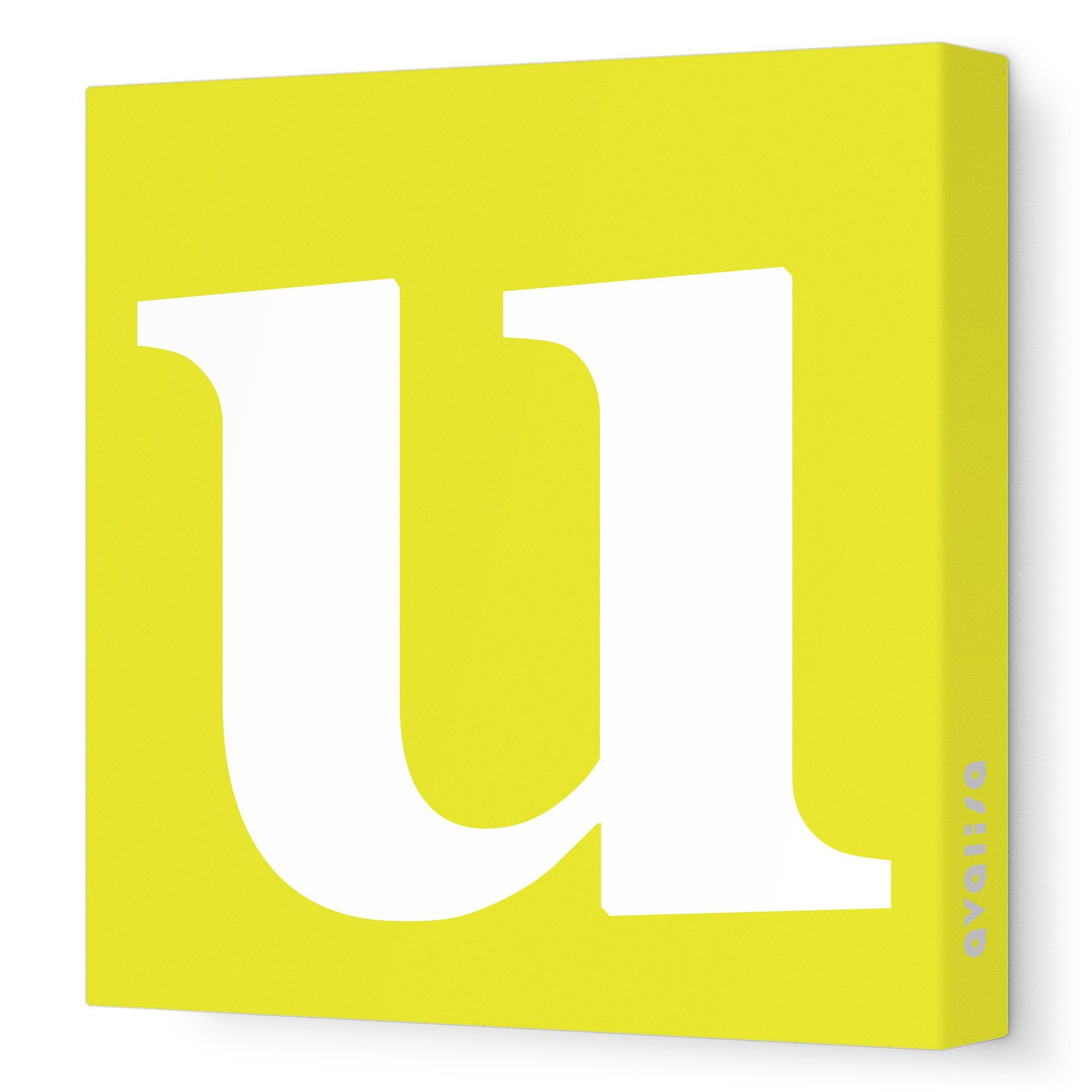 Avalisa Stretched Canvas Lower Letter U Nursery Wall Art, Yellow, 36 ...