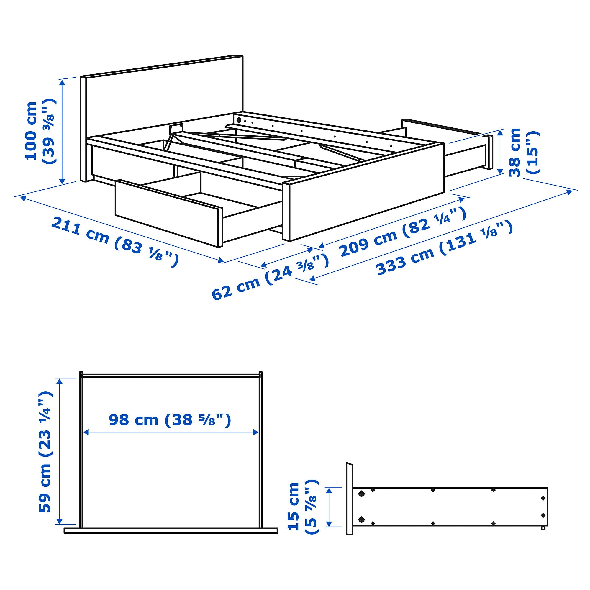 Best Ikea Malm High Bed Frame 4 Storage Boxes Brown Stained 400 x 300