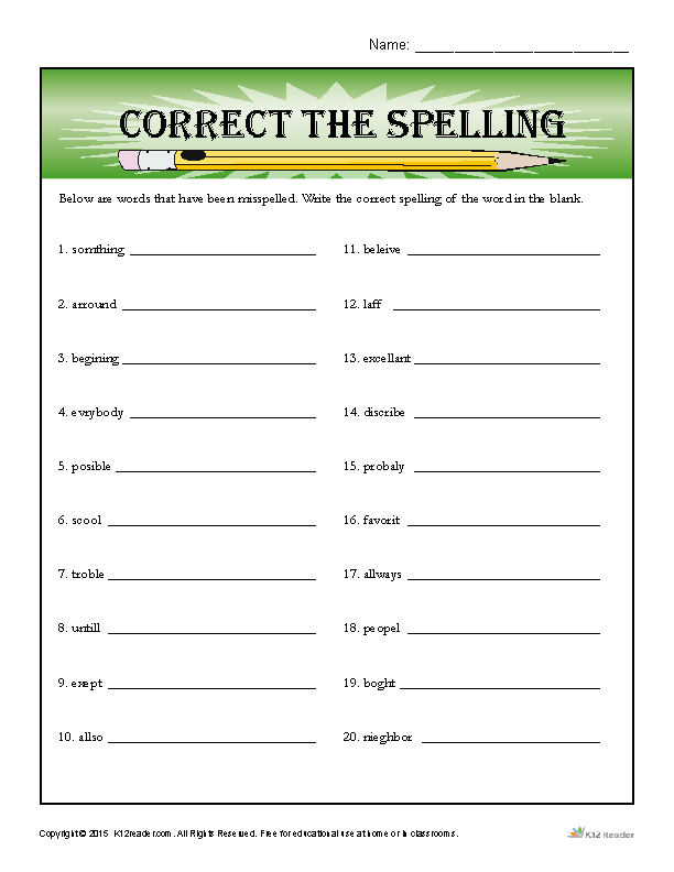 Correct the Spelling  Spelling worksheets, Spelling words list, Spelling words