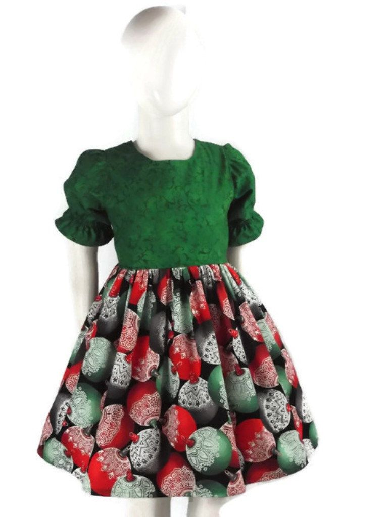 5992b12304b2 Girl, Christmas Dress, Toddler, Holiday Dress, Baby, Green Dress, Red,  Outfit, Party, Photo Shoot, Picture, Card, 1st First Ornament, ...