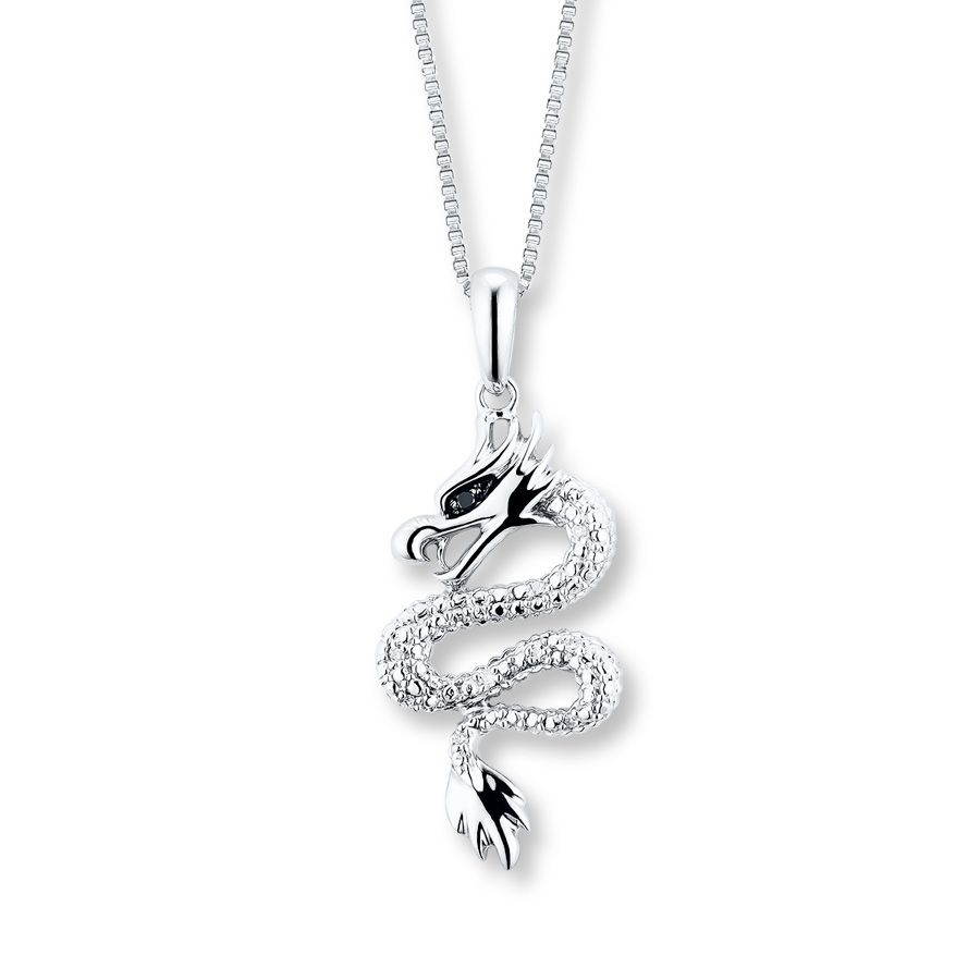 Artistry Diamonds Dragon Necklace Black Diamond Accents Sterling Silver TmwPp