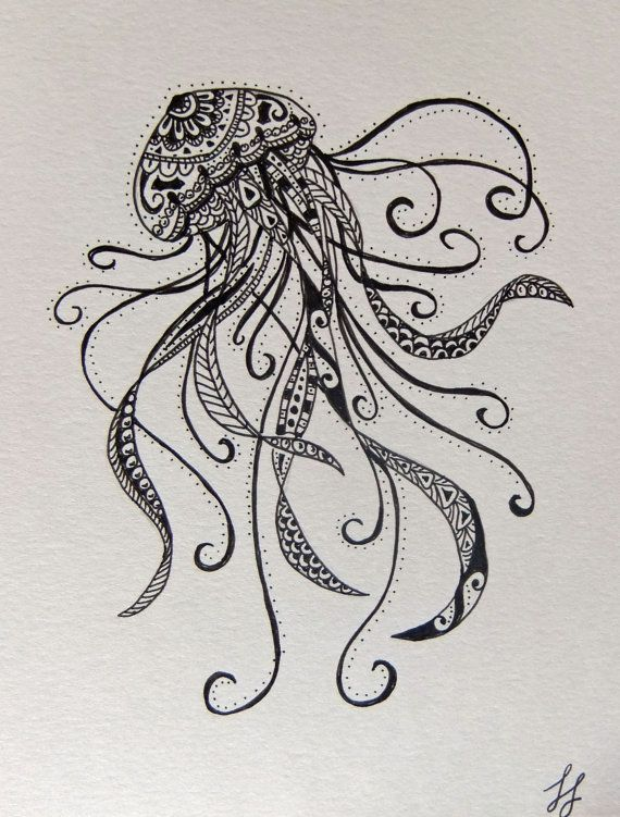 zentangle jellyfish tattoos - Google Search
