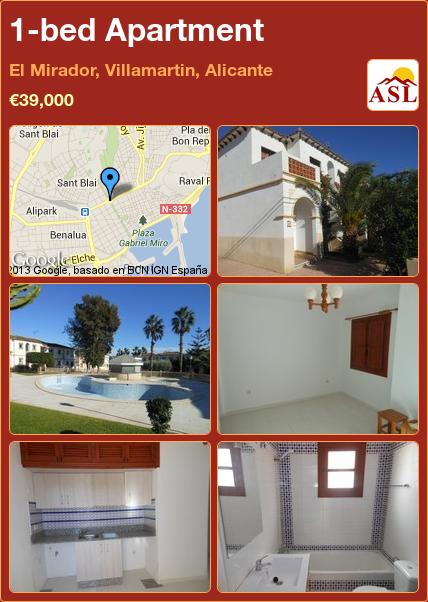 1-bed 1-bath Apartment in El Mirador, Villamartin ...