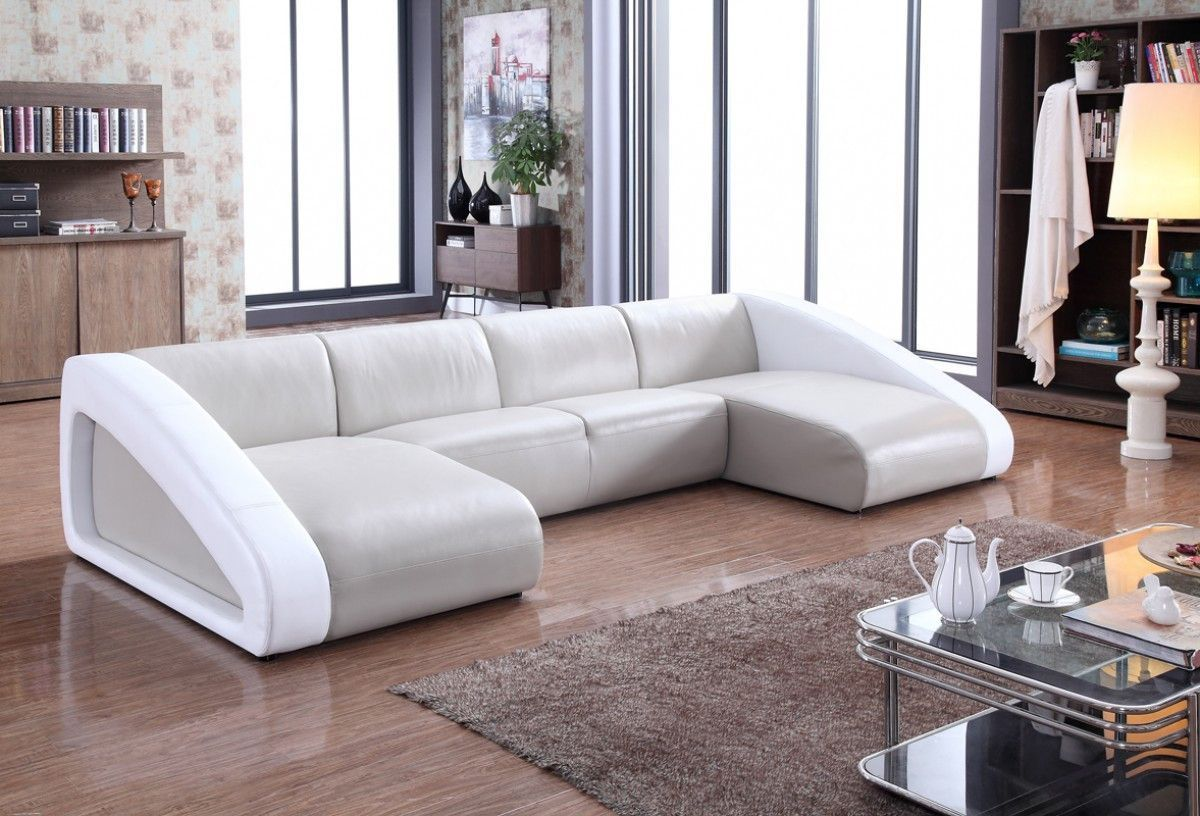 Pratt Modern Grey Amp White Leather Sectional Sofa
