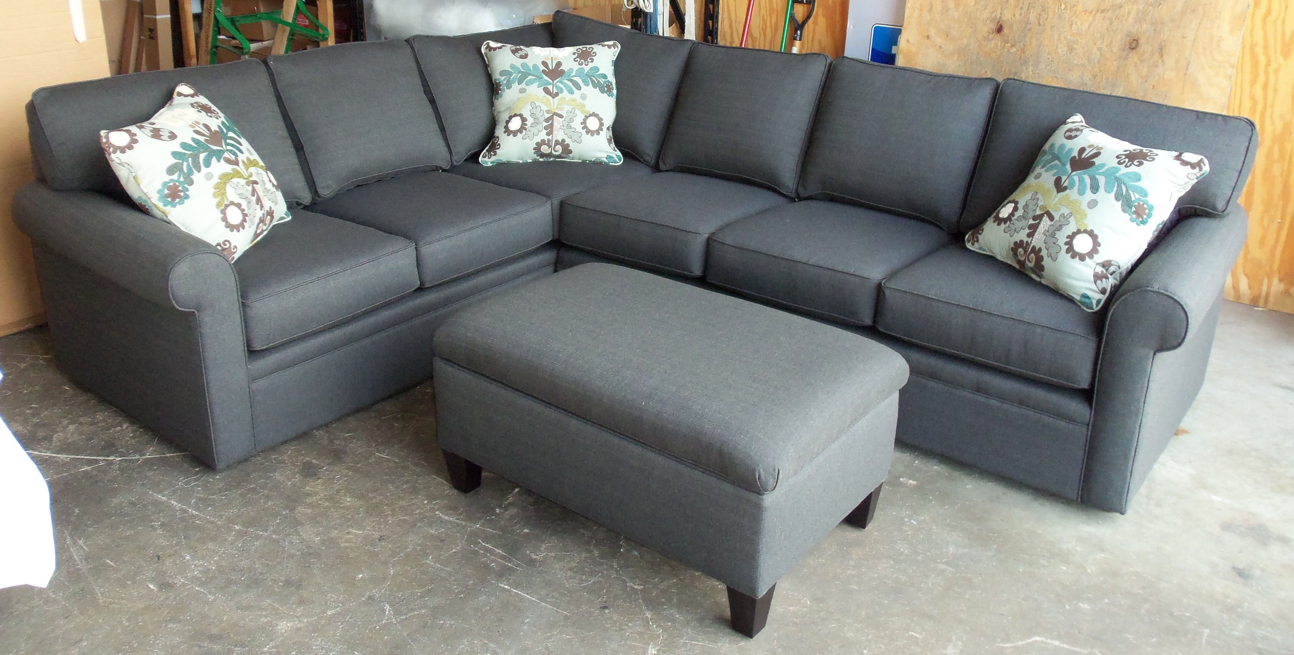 Grey sectional and ottoman make the light pattern and for L shaped sofa colors