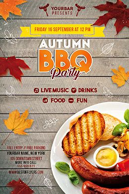 autumn bbq party free psd flyer template free flyer templates